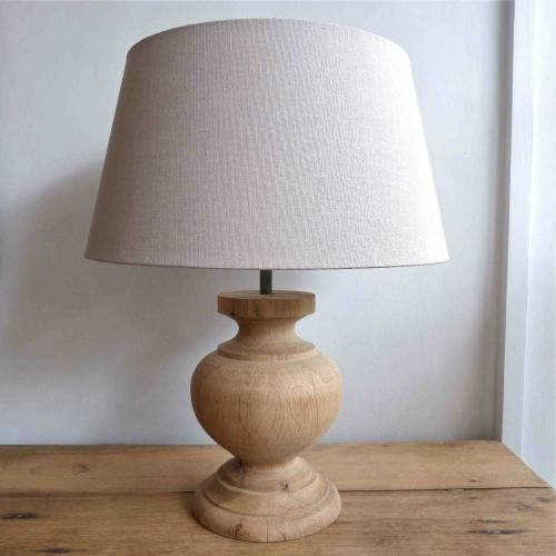 SMALL PAIR OF  WOODEN TABLE LAMPS WITH LINEN SHADES