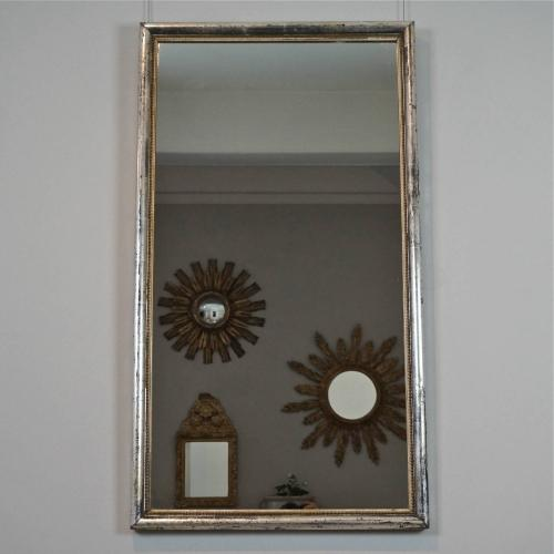 VERY FINE SILVER BISTRO MIRROR WITH RARE BEADED FRAME