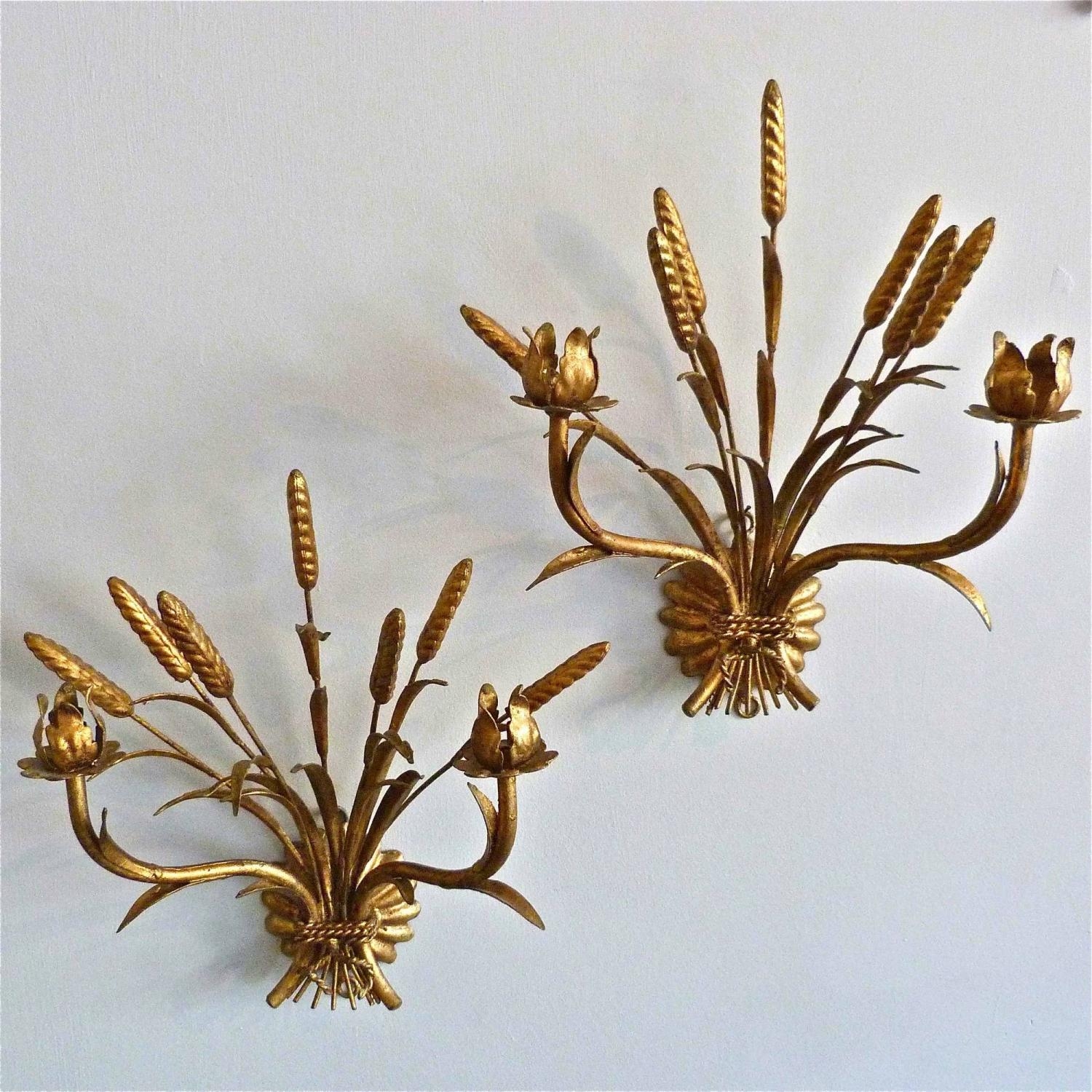 PAIR OF VINTAGE ITALIAN WHEATSHEAF WALL SCONCES