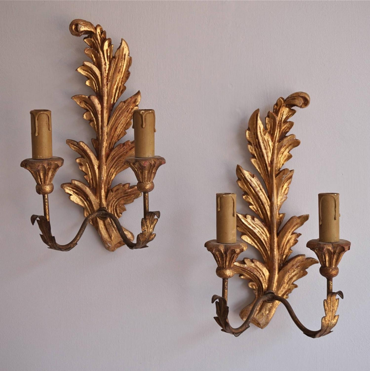 PAIR OF VINTAGE ITALIAN CARVED WOOD & GILDED WALL SCONCES