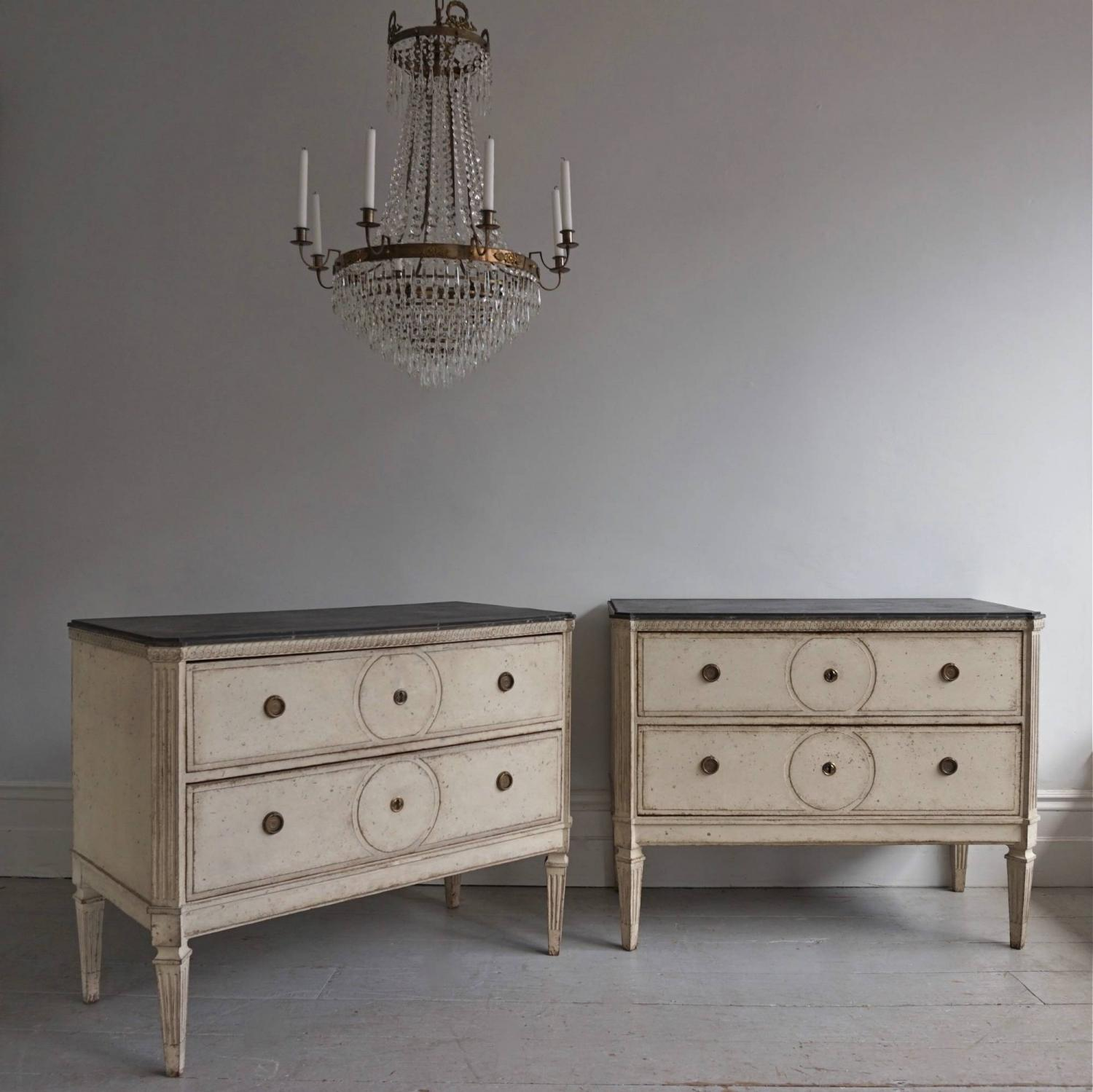 PAIR OF LARGE SWEDISH GUSTAVIAN STYLE CHESTS