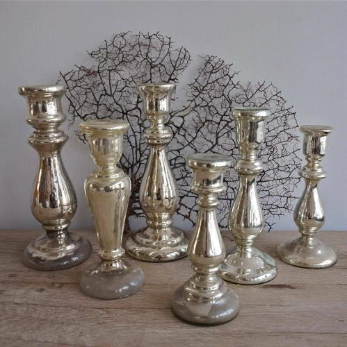 COLLECTION OF ANTIQUE MERCURY GLASS CANDLESTICKS
