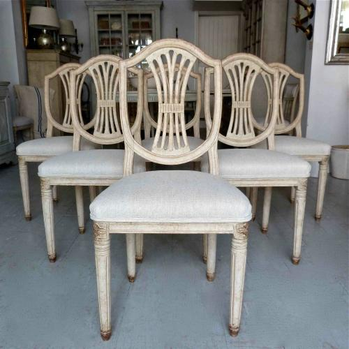 SIX 19TH CENTURY SWEDISH GUSTAVIAN STYLE CHAIRS
