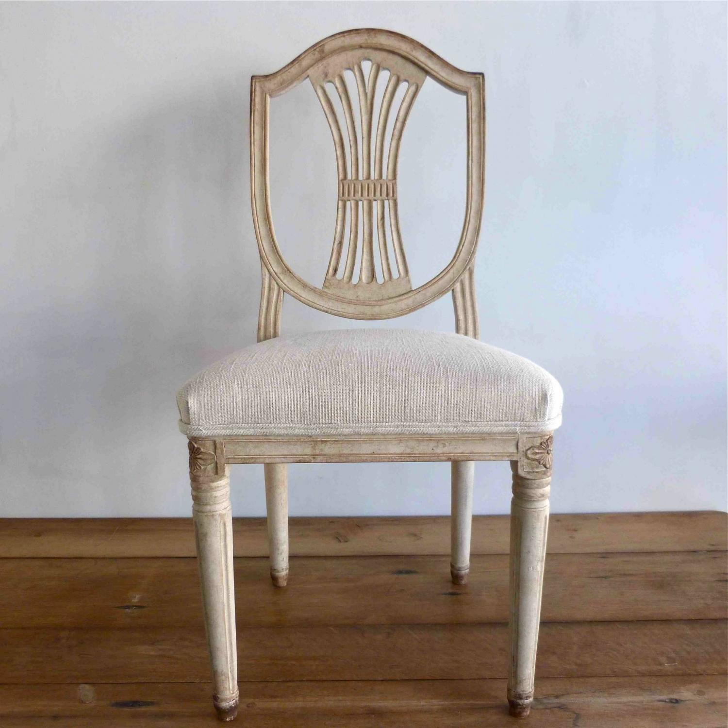 Six 19th century swedish gustavian style chairs in furniture for Swedish style dining chairs