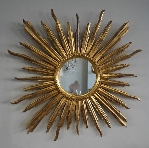 LARGE VINTAGE CARVED WOOD SUNBURST MIRROR