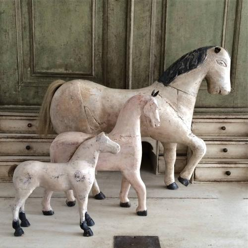 TRIO OF FRENCH FOLK ART HORSES IN ORIGINAL PAINT