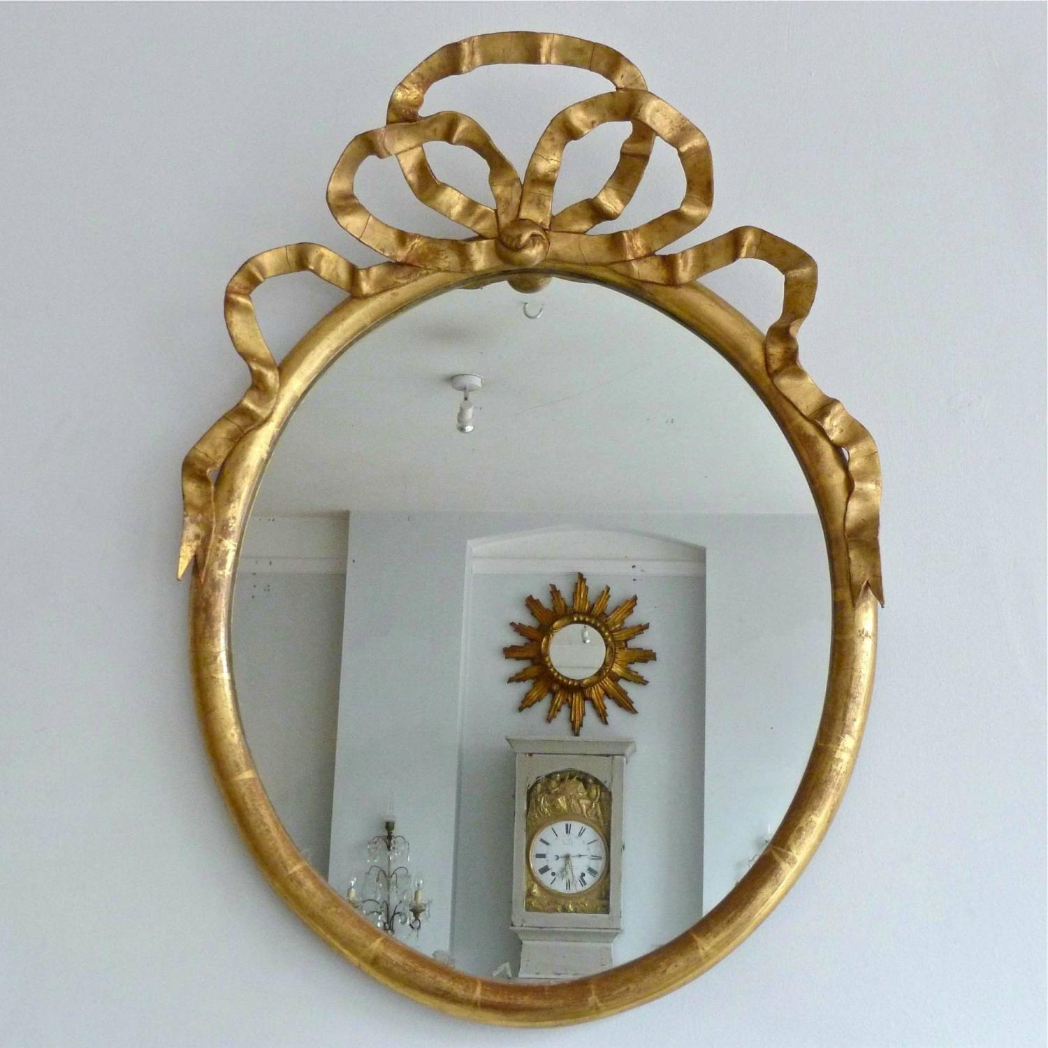 FRENCH MERCURY GLASS MIRROR WITH RIBBON CARTOUCHE