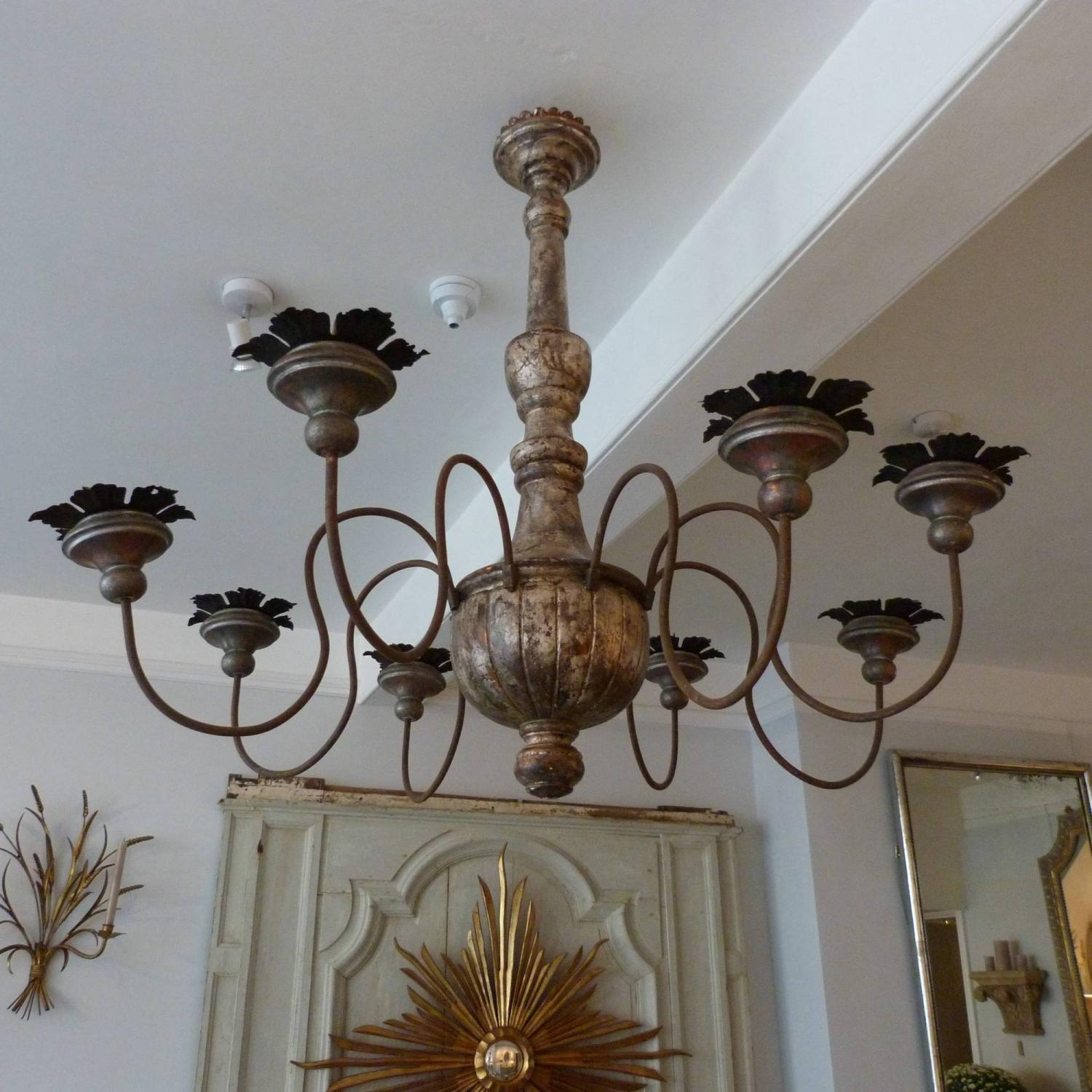 FRENCH CARVED WOOD SPIDER CHANDELIER