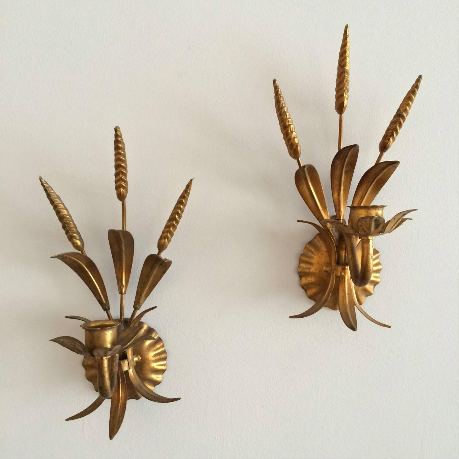 PAIR OF 1970's ITALIAN GILDED WALL SCONCES