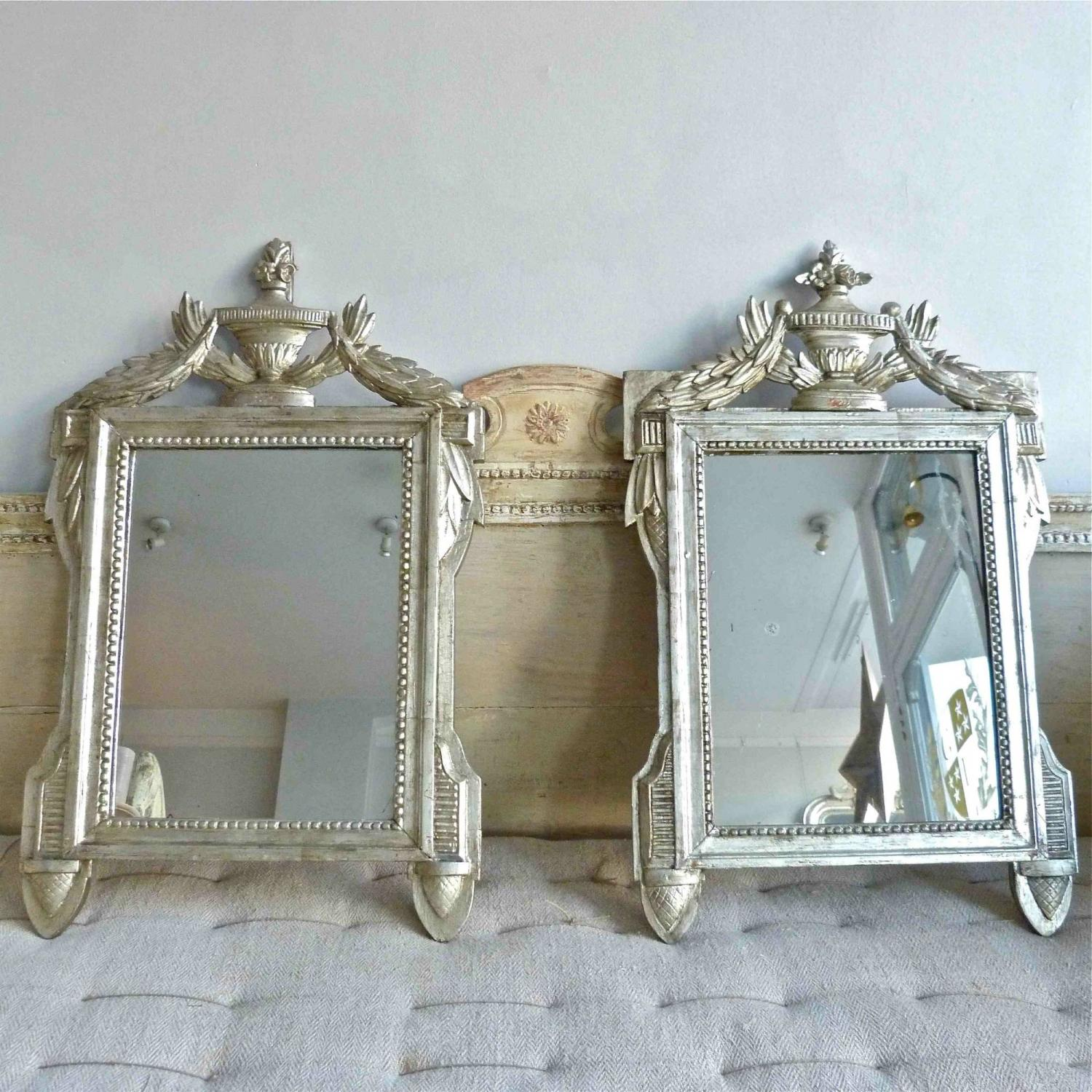 STUNNING PAIR OF DECORATIVE SILVER GILT ITALIAN MIRRORS