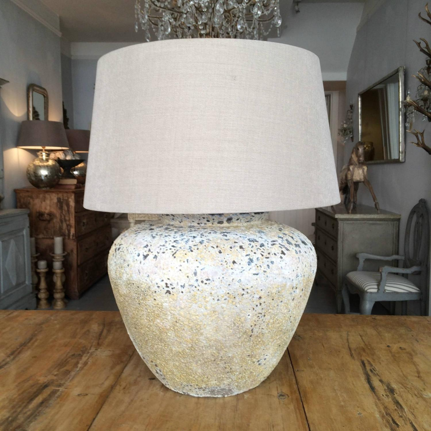 IMPRESSIVELY LARGE BARNACLED TERRACOTTA TABLE LAMP In LIGHTING