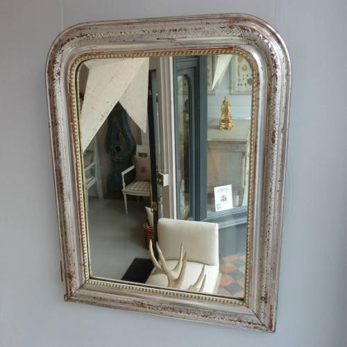 SILVER OVER DARK RED GESSO MIRROR