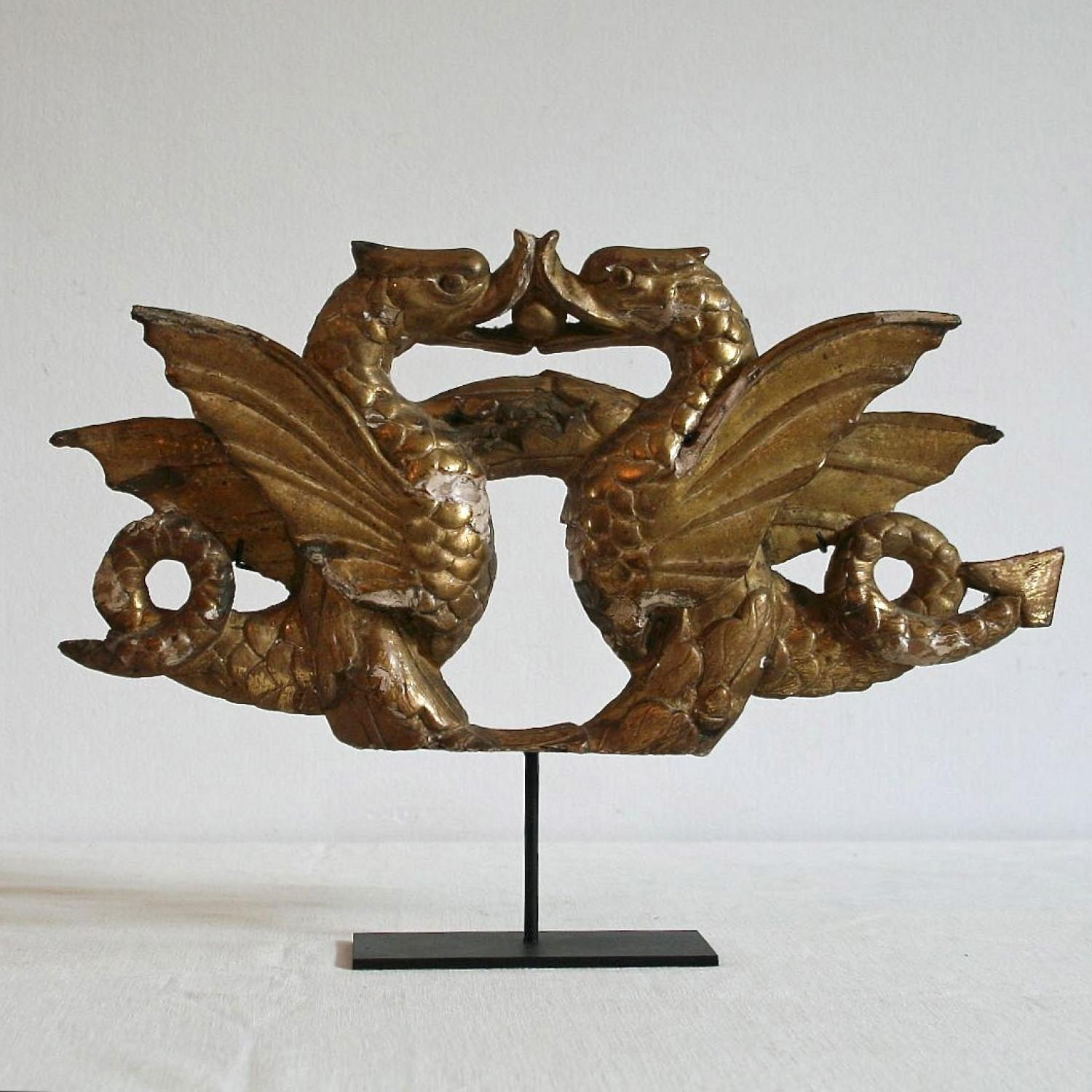 A PAIR OF 18th CENTURY GILDED FRENCH DRAGONS