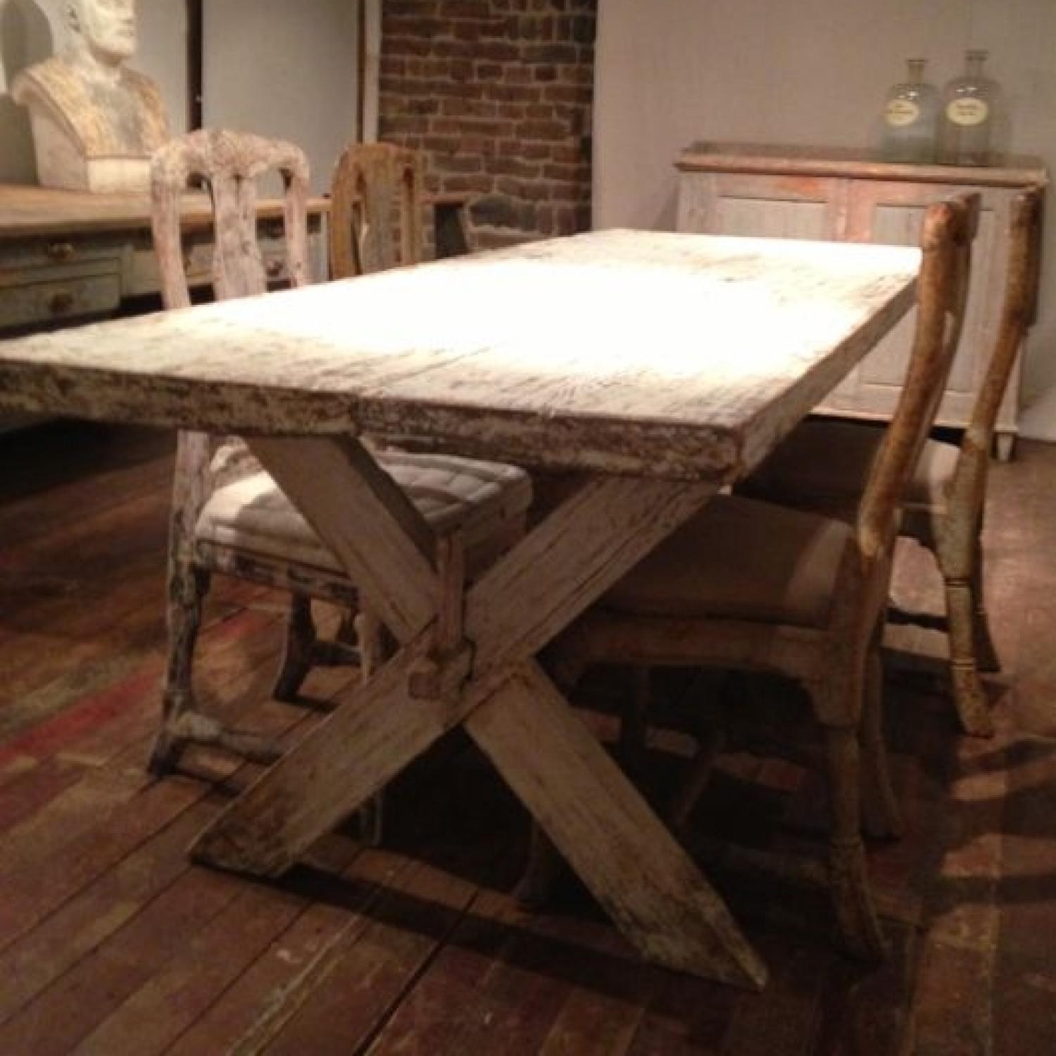 LATE 18TH CENTURY SWEDISH GUSTAVIAN STRETCHER TABLE
