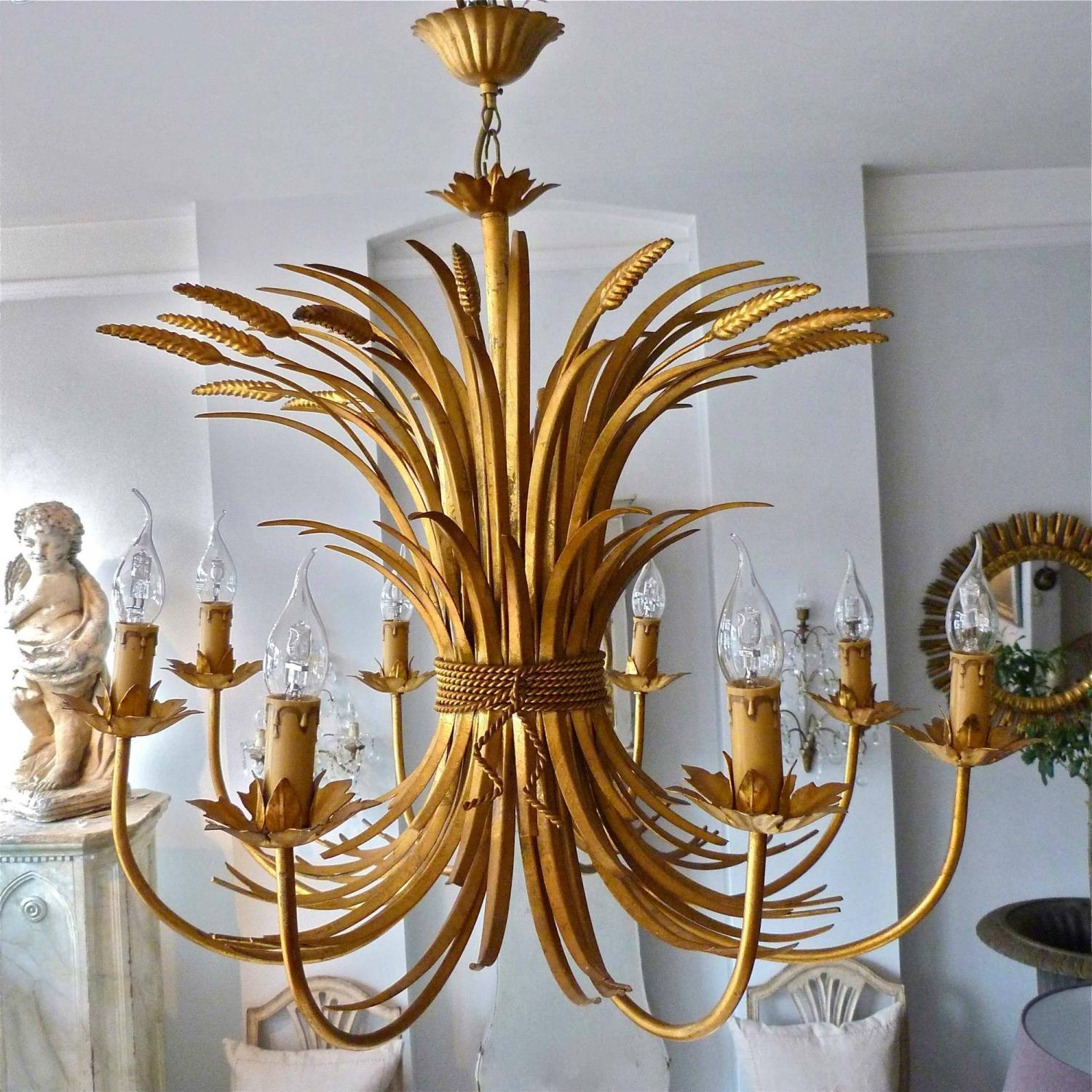 LARGE GILT WHEATSHEAF CHANDELIER