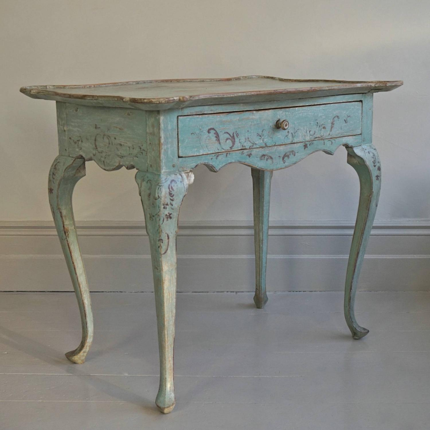 18TH CENTURY SWEDISH ROCOCO TRAY TABLE IN ORIGINAL COLOUR