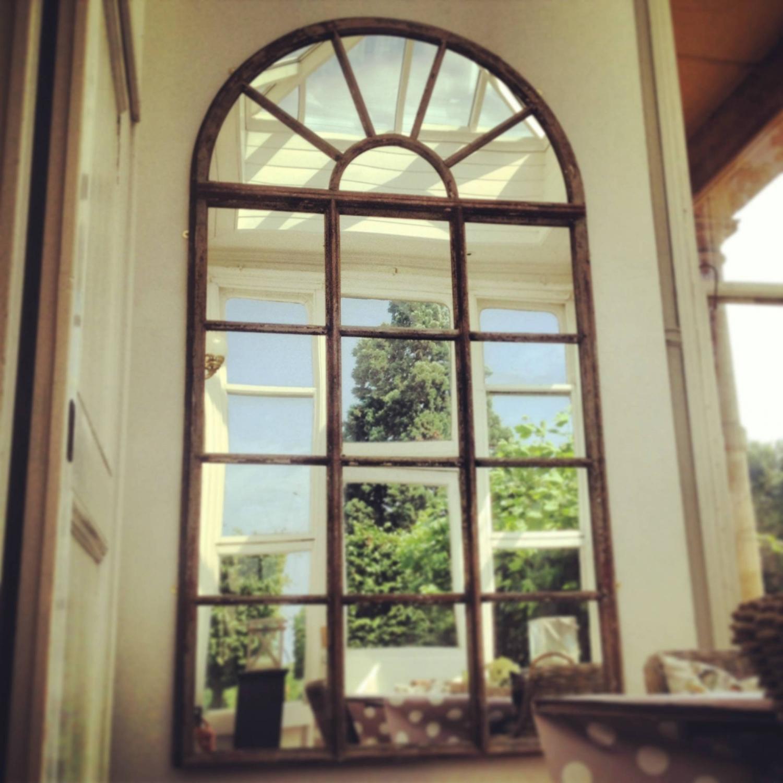 19TH CENTURY OAK INDUSTRIAL WINDOW MIRROR