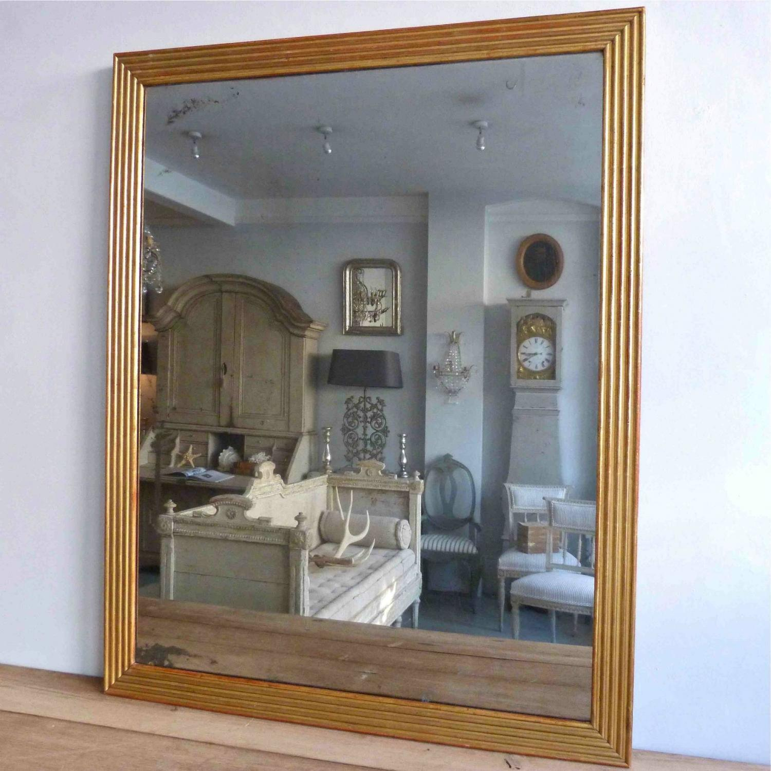 REEDED FRENCH MIRROR WITH ORIGINAL MERCURY GLASS