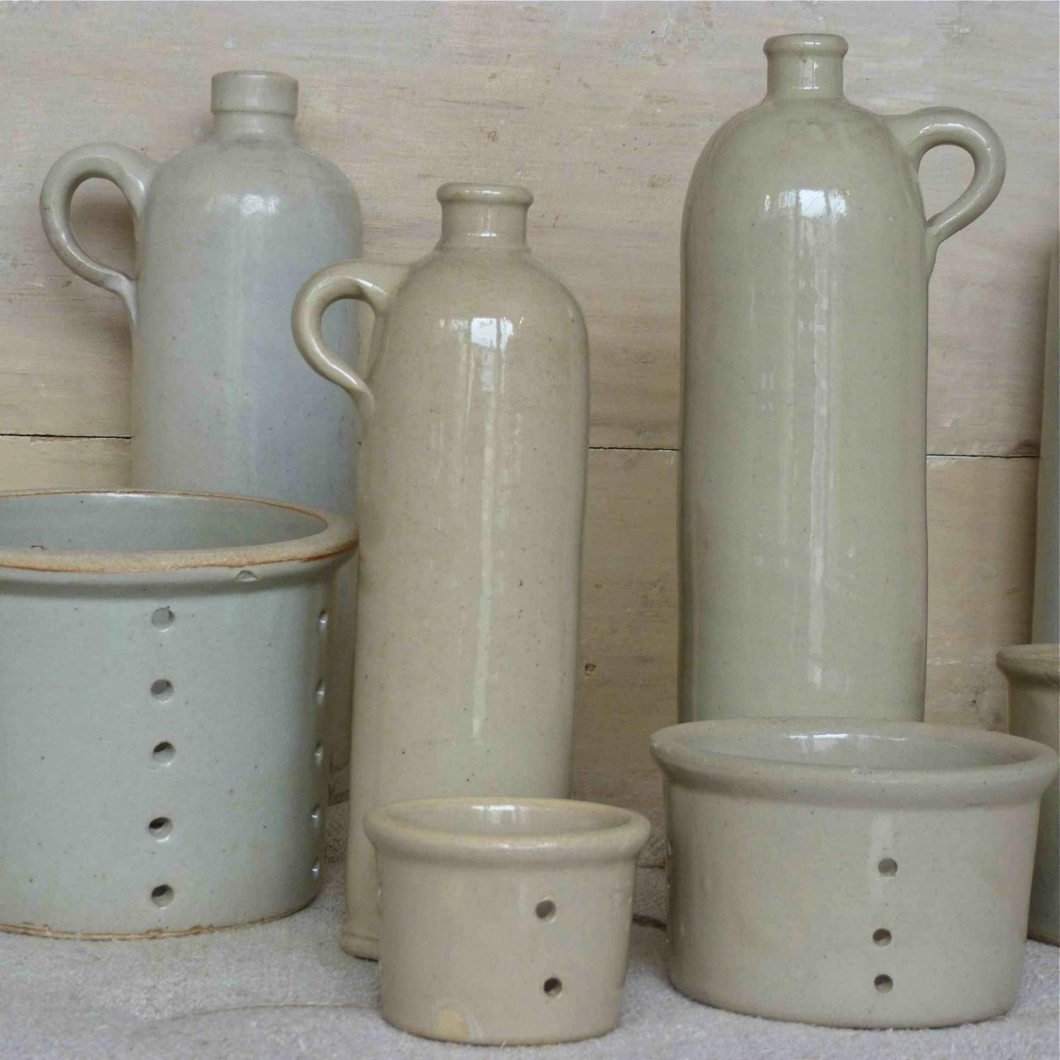 VINTAGE BURGUNDY STONEWARE BOTTLES & CHEESE MOLDS