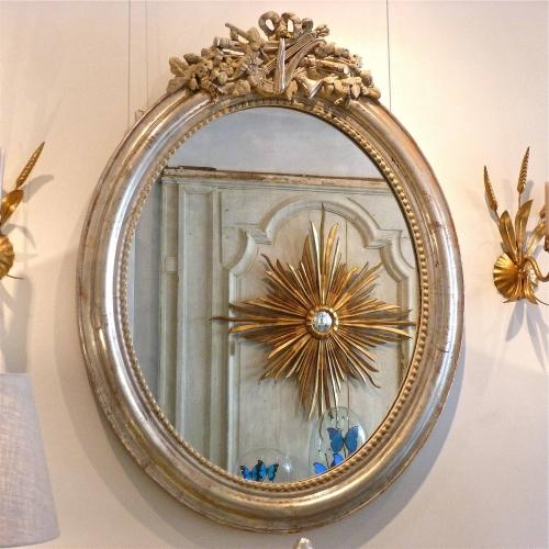 STUNNING FRENCH SILVER OVAL CRESTED MIRROR