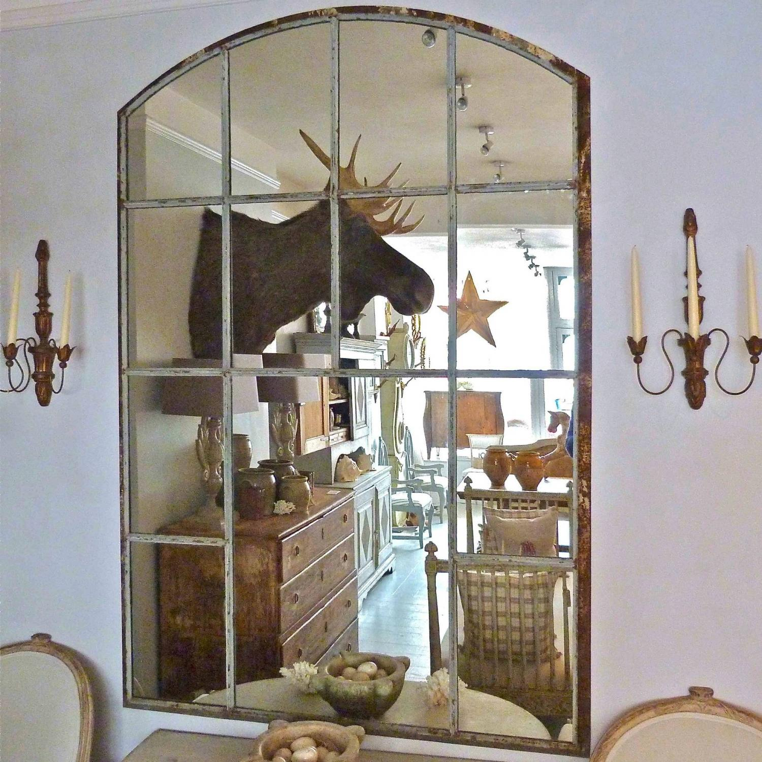 LARGE CAST IRON SLOW ARCHED WINDOW FRAME MIRROR