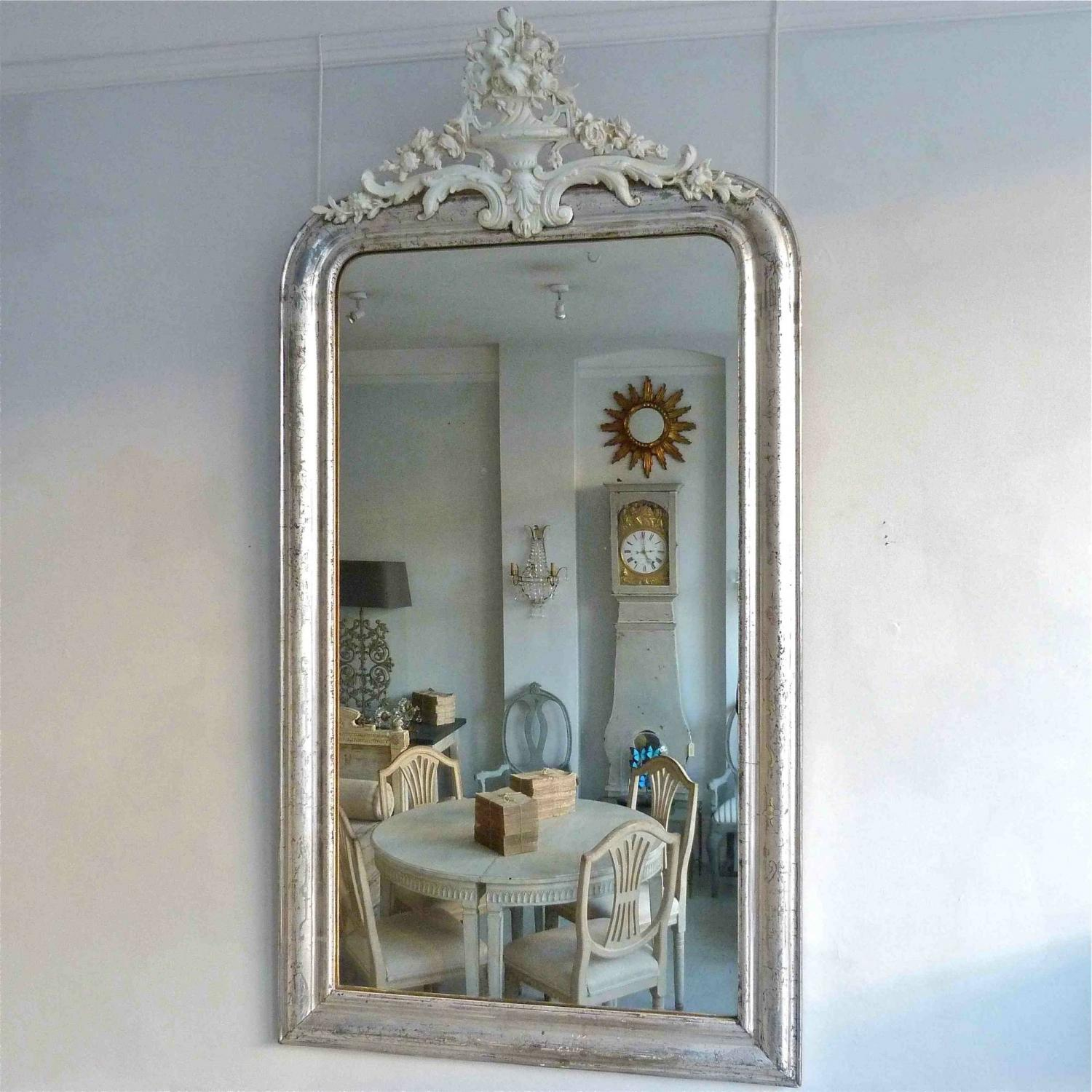 FRENCH LOUIS PHILIPPE SILVER CRESTED MIRROR