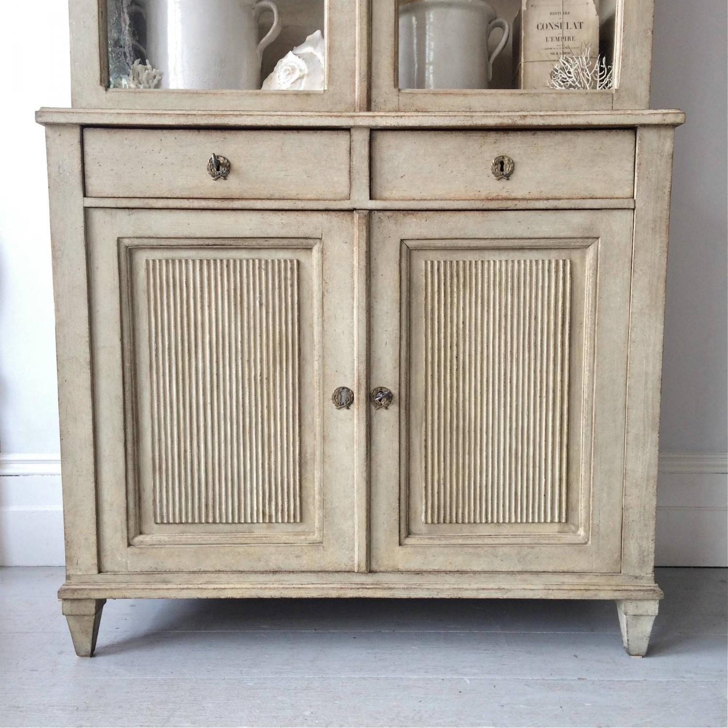 magnificent tall gustavian style vitrine cabinet in furniture - Gustavian Style Furniture