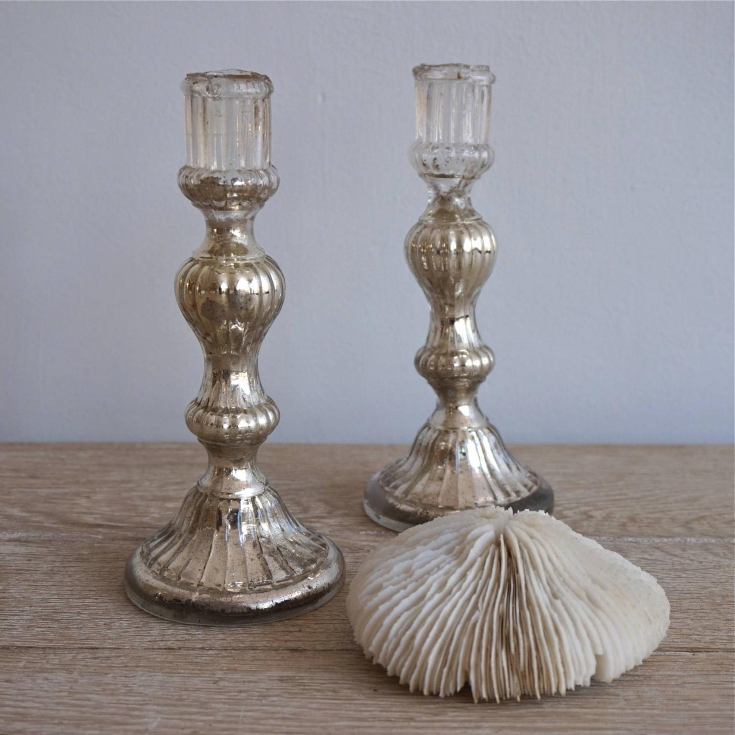 PAIR OF  SPIRAL STEMMED MERCURY GLASS CANDLESTICKS