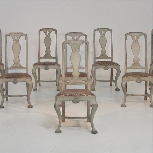 SET OF 8 RARE SWEDISH BAROQUE STYLE DINING CHAIRS