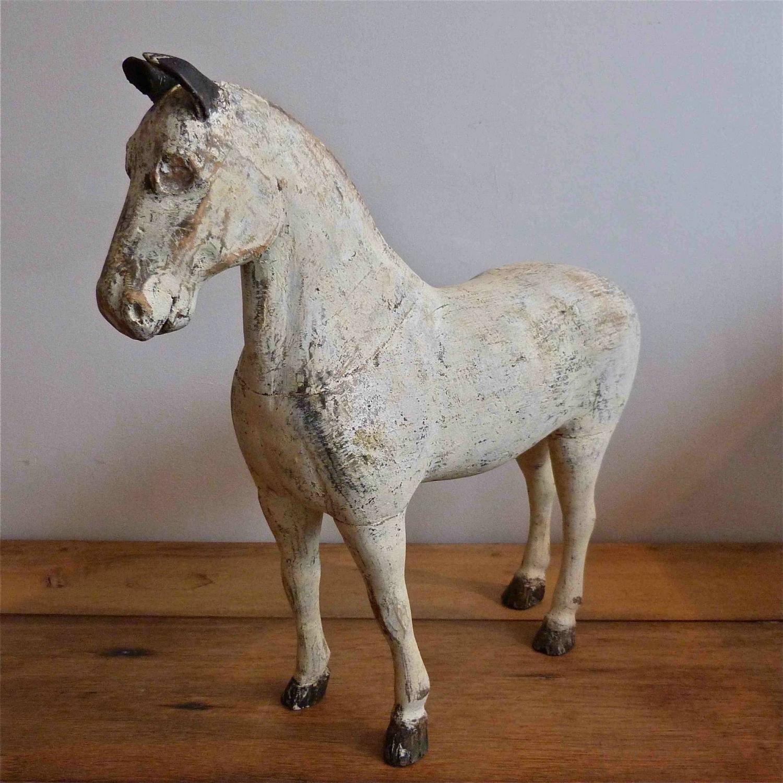 19TH CENTURY SWEDISH HORSE FRAGMENT IN ORIGINAL PAINT