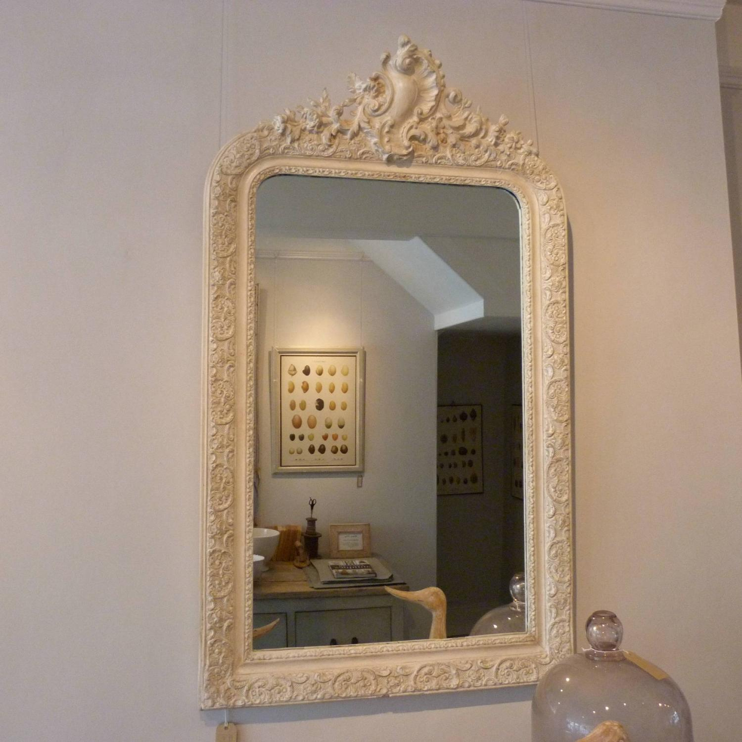WHITE CRESTED FRENCH MIRROR