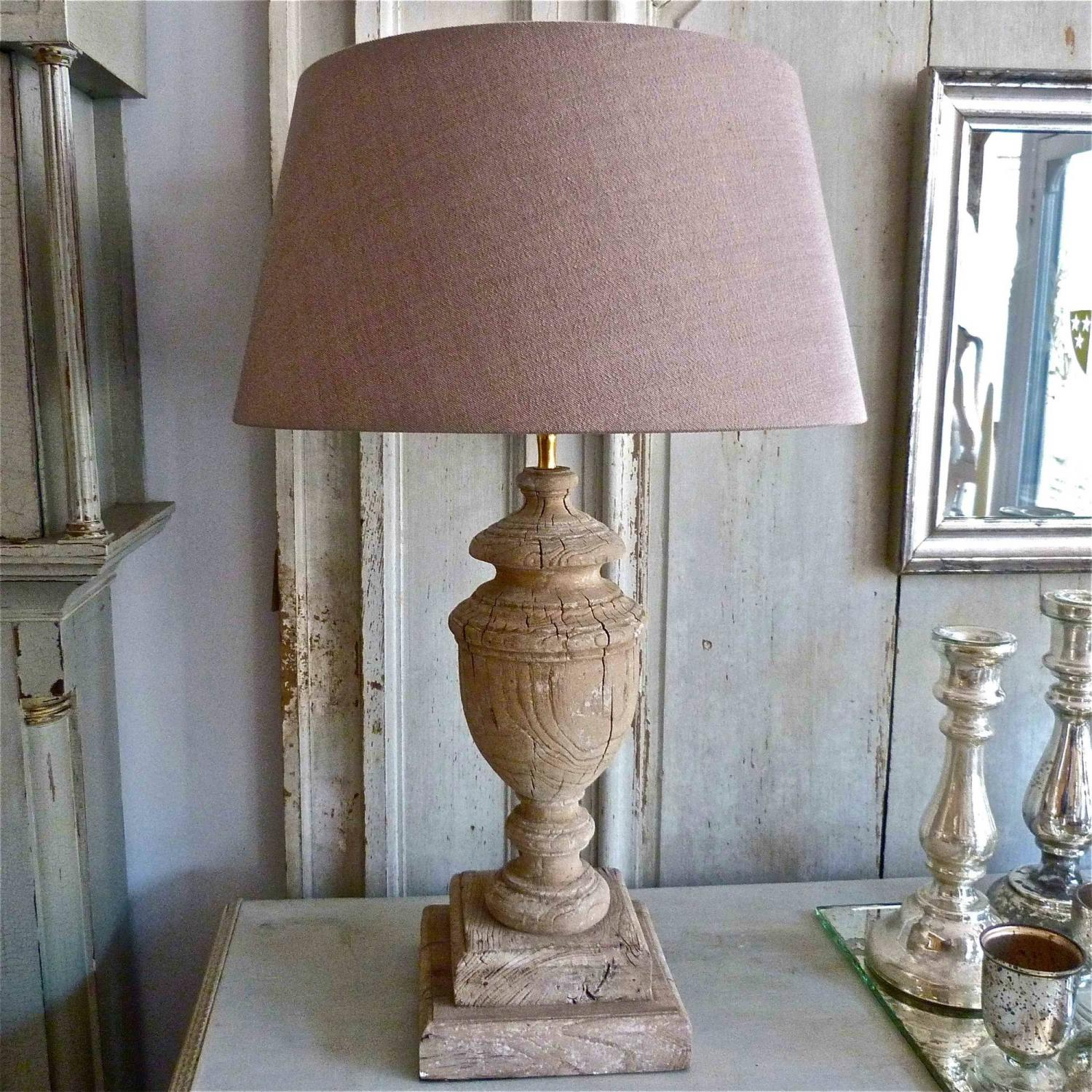 CARVED ANTIQUE WOOD TABLE LAMPS WITH AGED PATINA