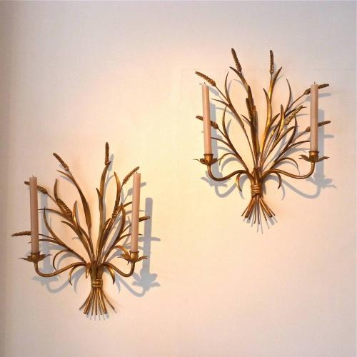 SET OF FOUR LARGE GILDED WHEATSHEAF WALL SCONCES