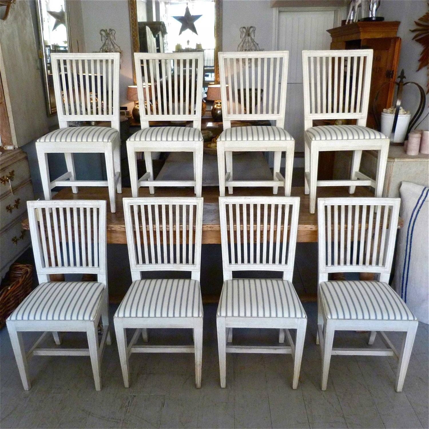 SET OF 8 ANTIQUE SWEDISH GUSTAVIAN STYLE DINING CHAIRS