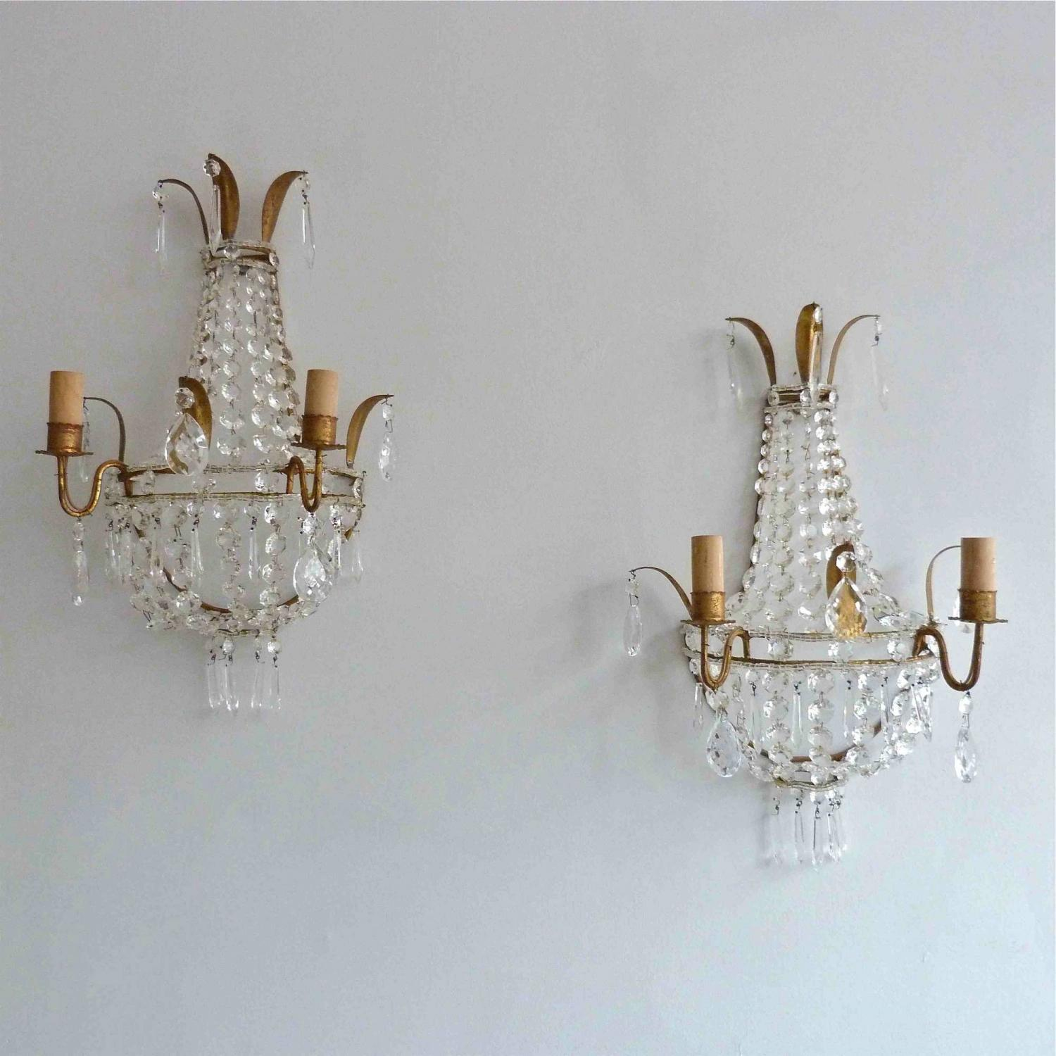 PAIR OF VINTAGE GILT ITALIAN WALL APPLIQUES