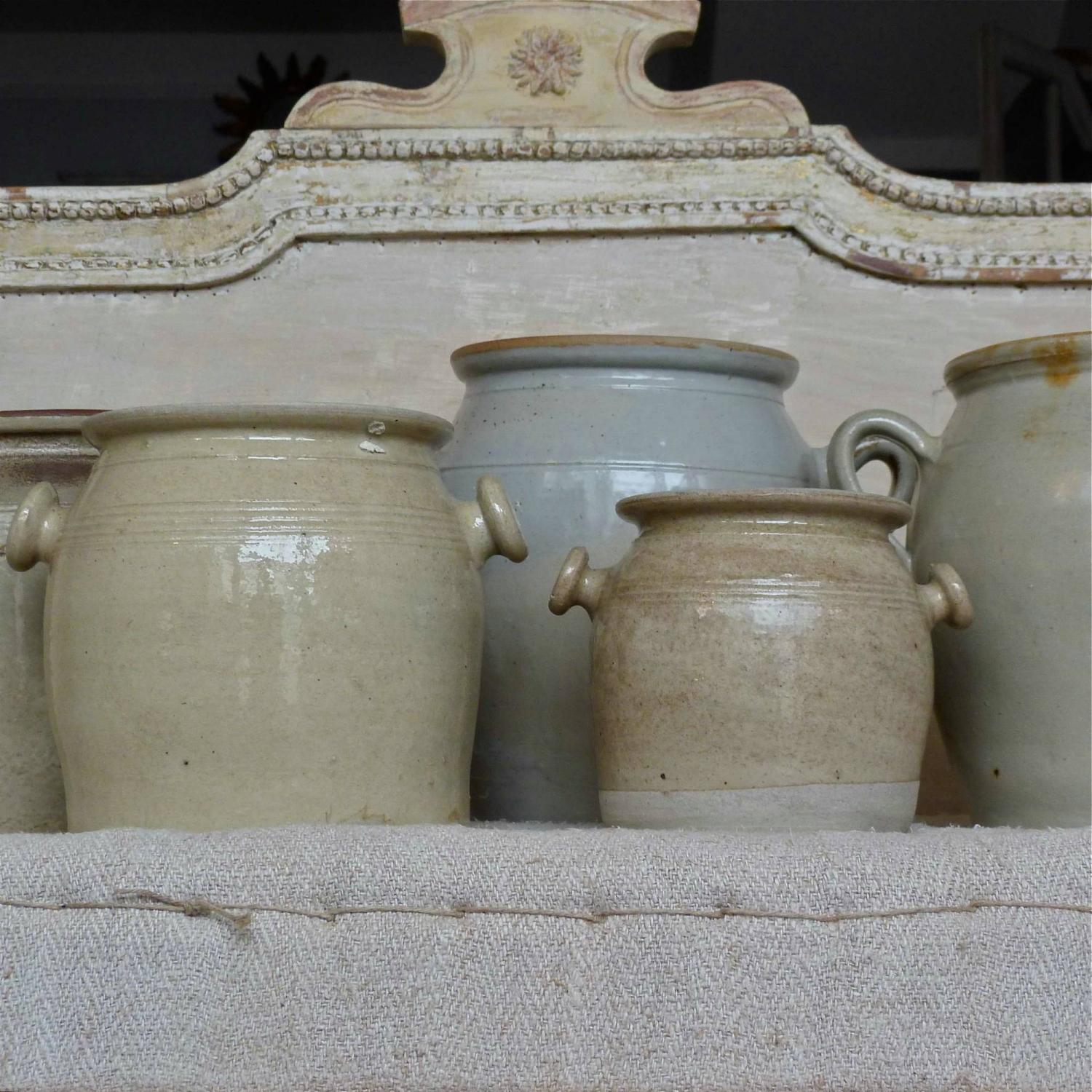 COLLECTION OF BURGUNDY STONEWARE CONFIT POTS