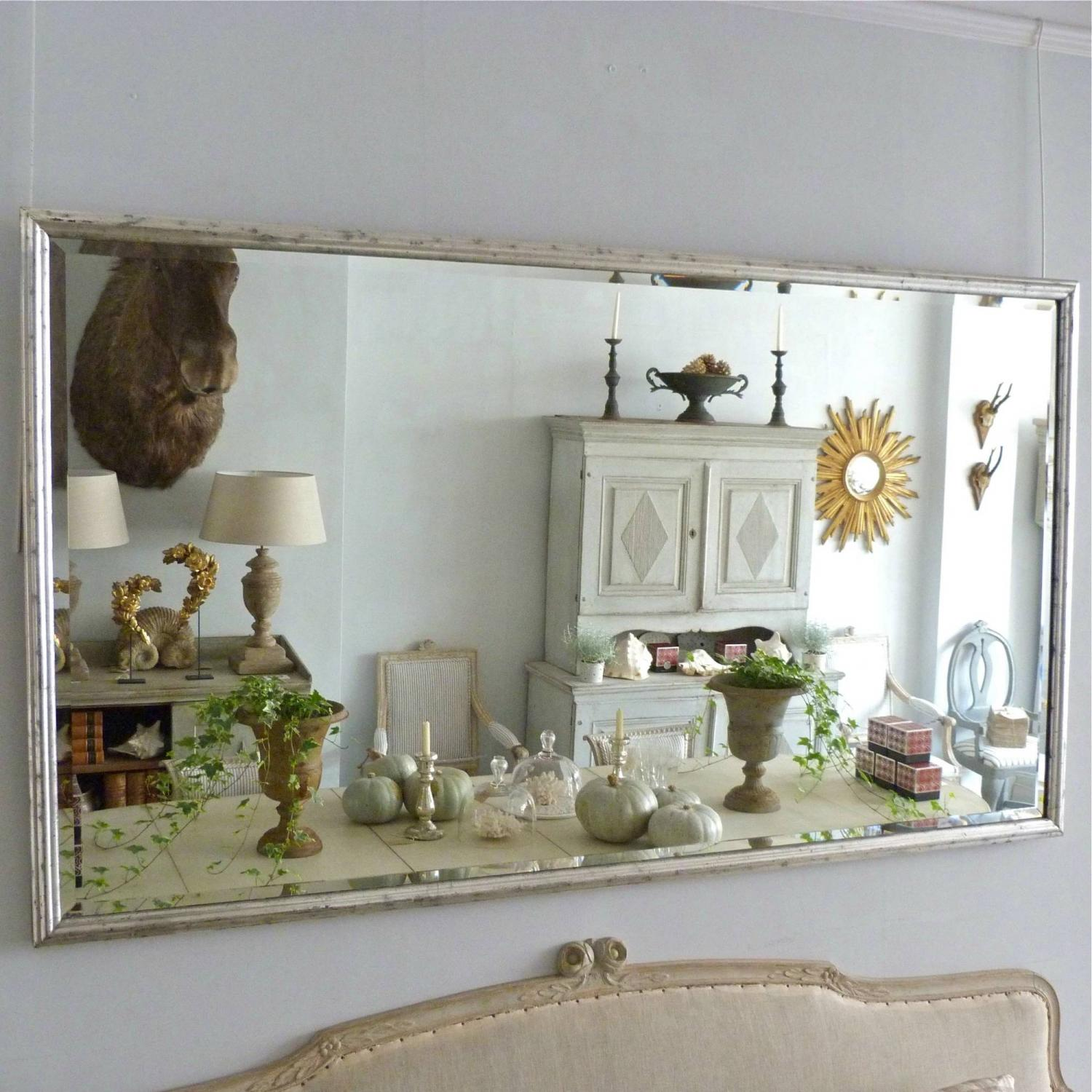HUGE 6FT SILVER BISTRO MIRROR WITH BEVELLED GLASS