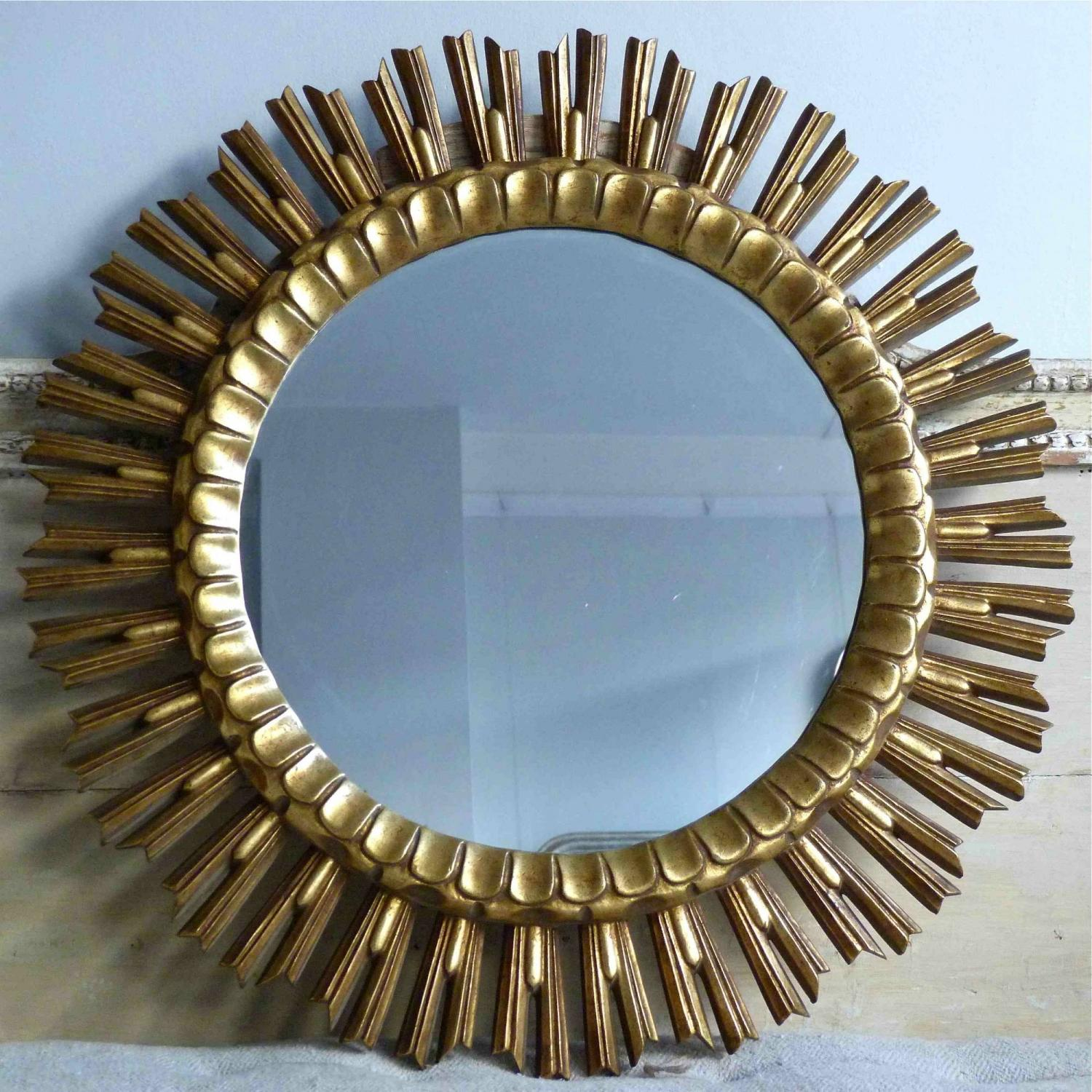 LARGE VINTAGE WOODEN SUNBURST MIRROR