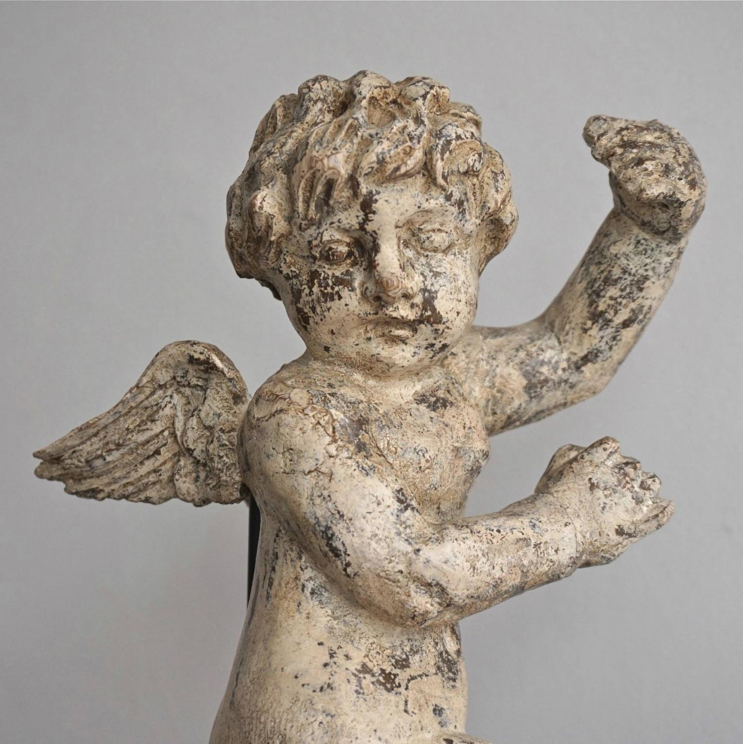 EXQUISITE HAND CARVED FRENCH ANGEL IN ORIGINAL PAINT