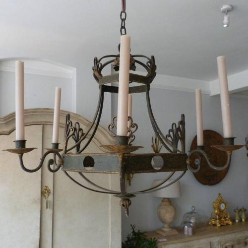 FRENCH CIRCA 1900 IRON CHANDELIER