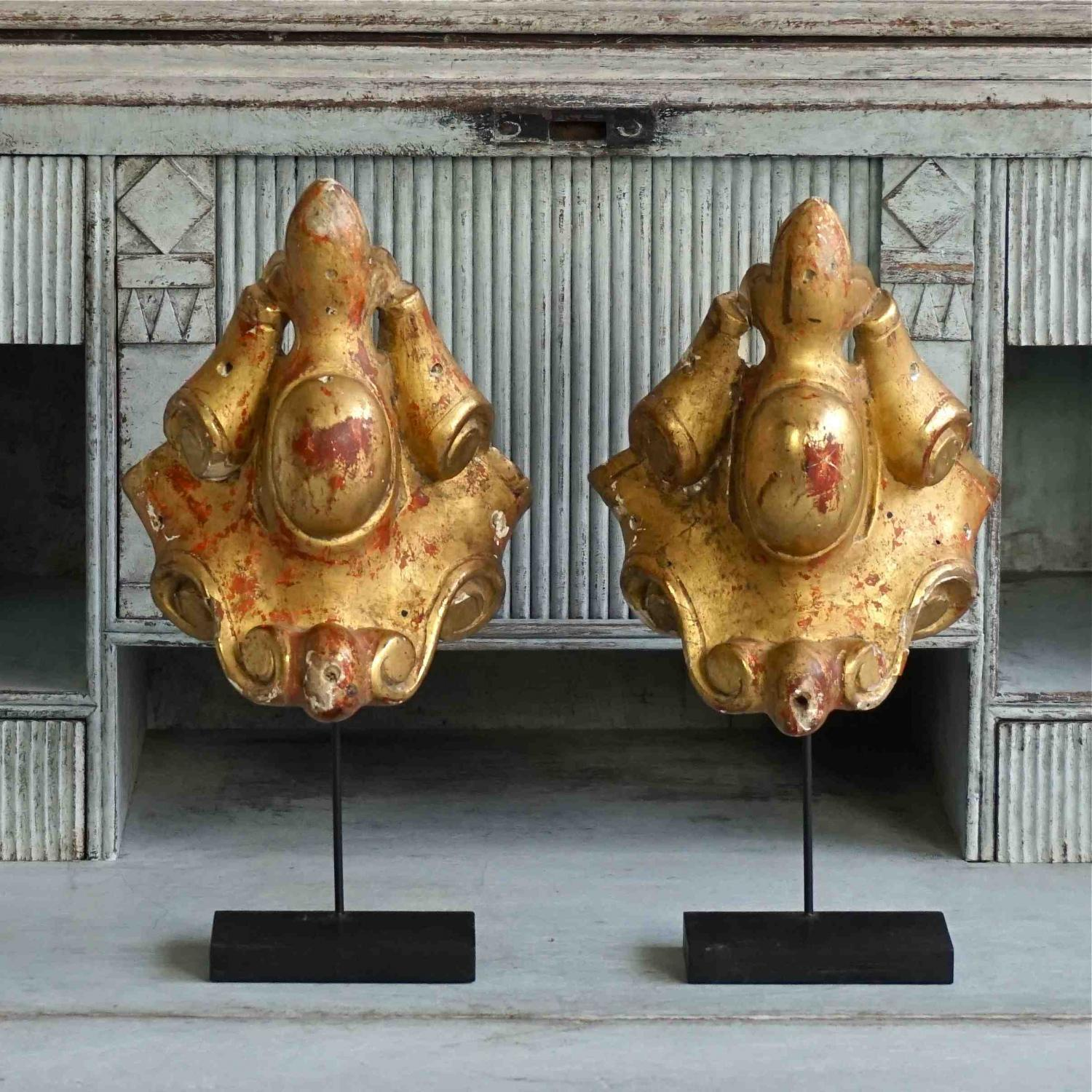 PAIR OF FRENCH CARVED WOOD GILDED FRAGMENTS
