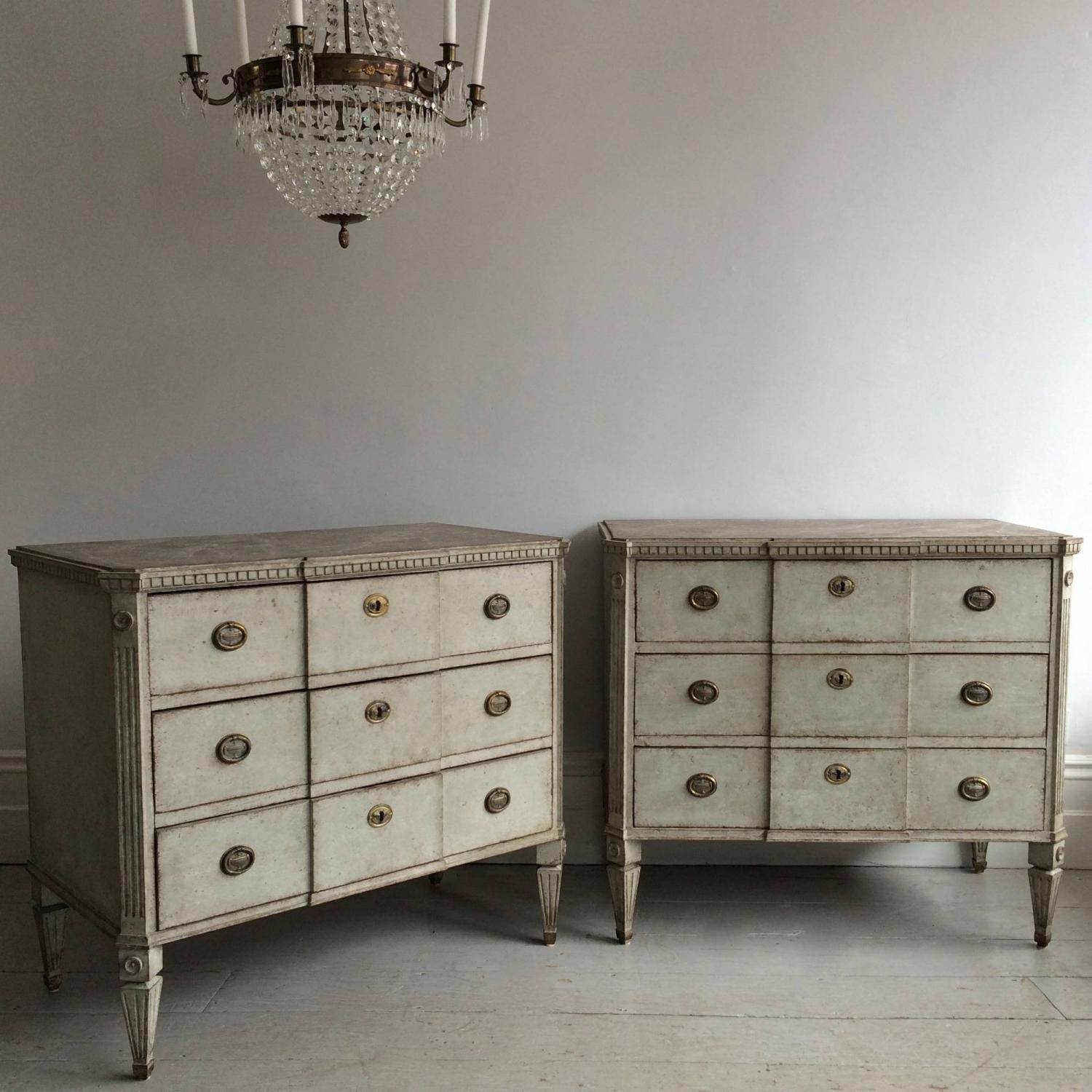OUTSTANDING PAIR OF SWEDISH GUSTAVIAN STYLE CHESTS