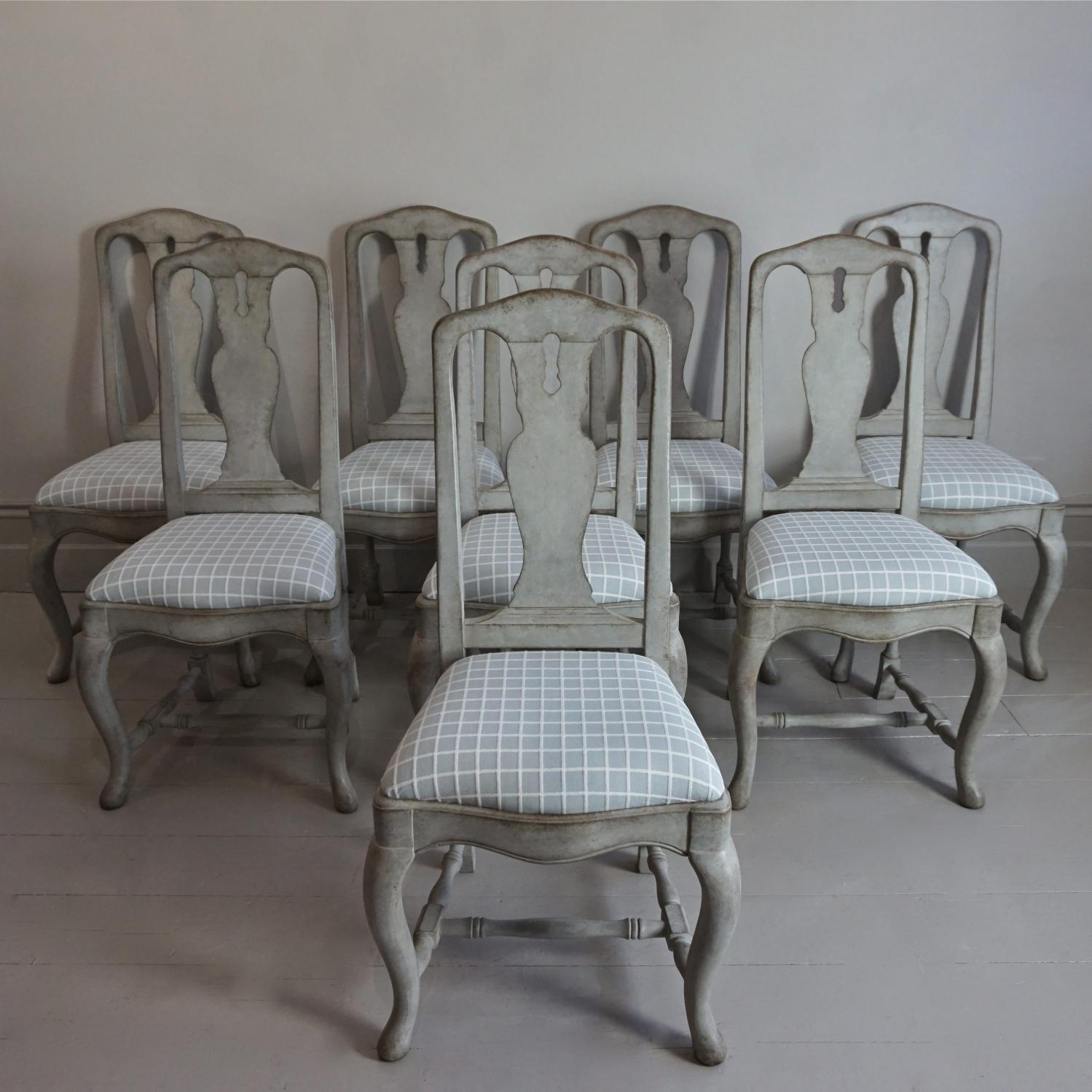 SET OF 8 SWEDISH BAROQUE STYLE CHAIRS