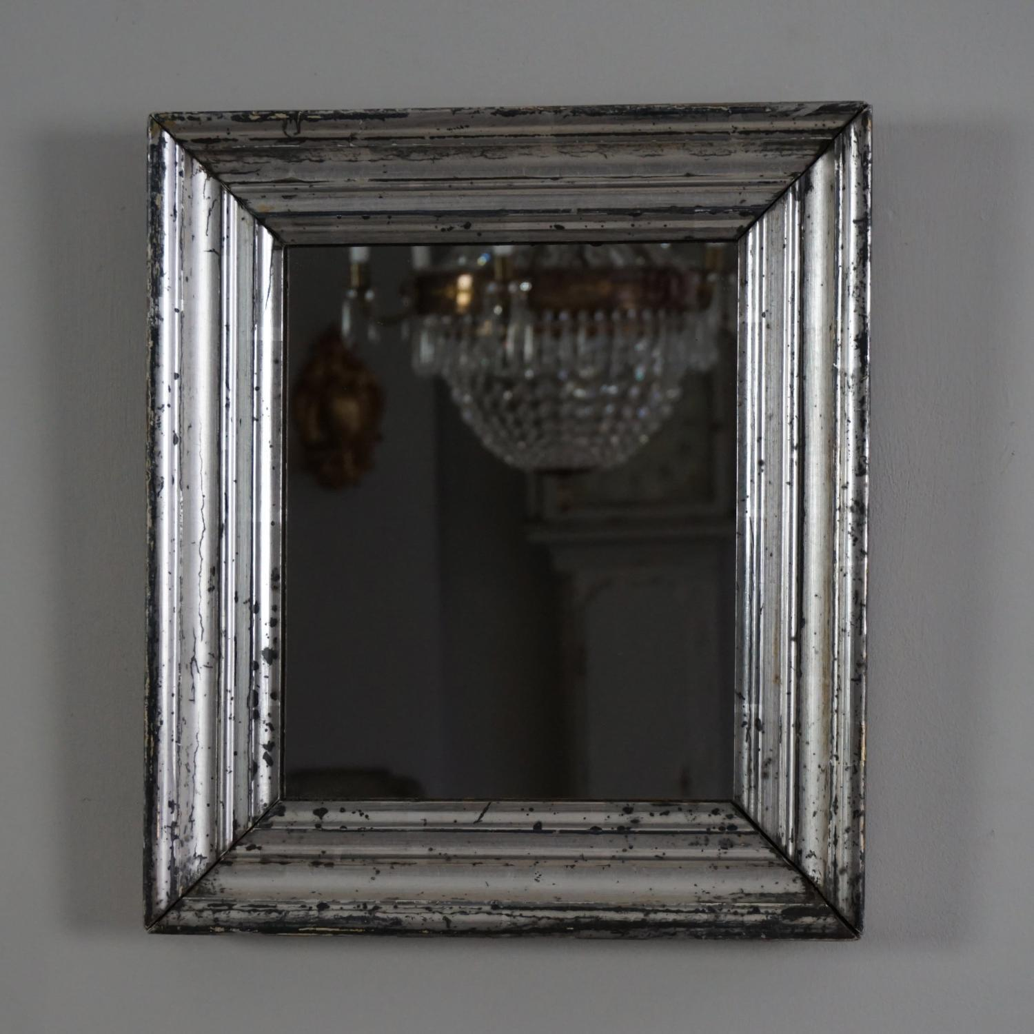 SMALL ANTIQUE FRENCH SILVER GILT MIRROR