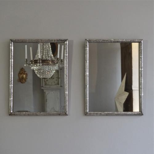 PAIR OF FRENCH ANTIQUE SILVER GILT MIRRORS