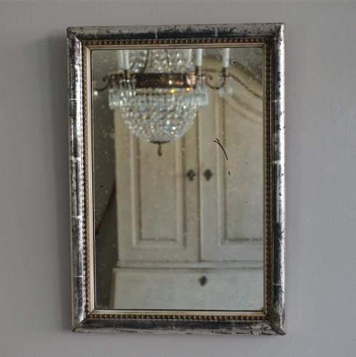 SMALL FRENCH ANTIQUE SILVER BEADED MIRROR