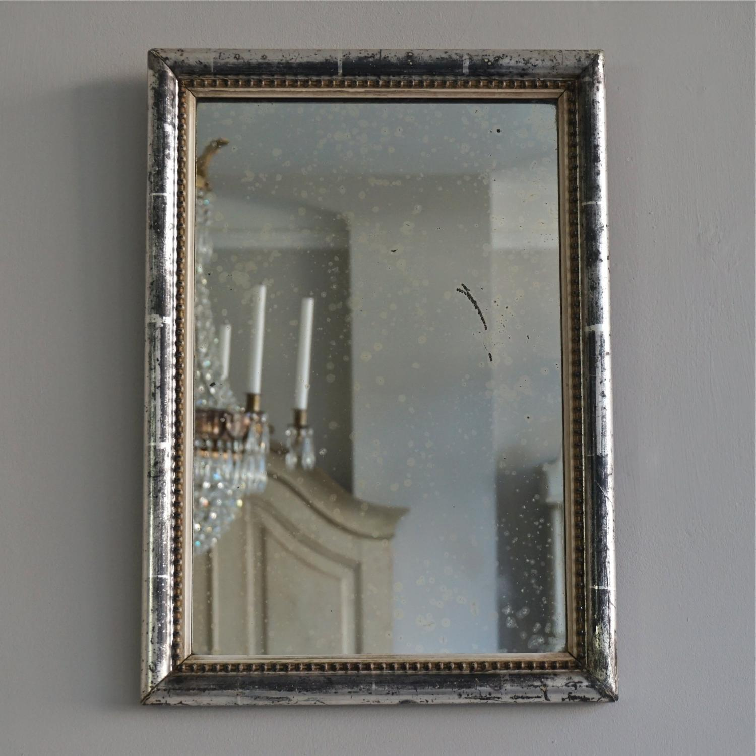 Small french antique silver beaded mirror in mirrors for Small silver mirror