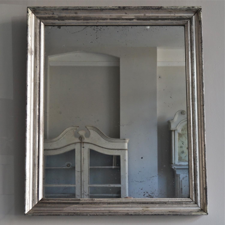 Mid 19th Century Silver Mercury Glass Mirror In Mirrors
