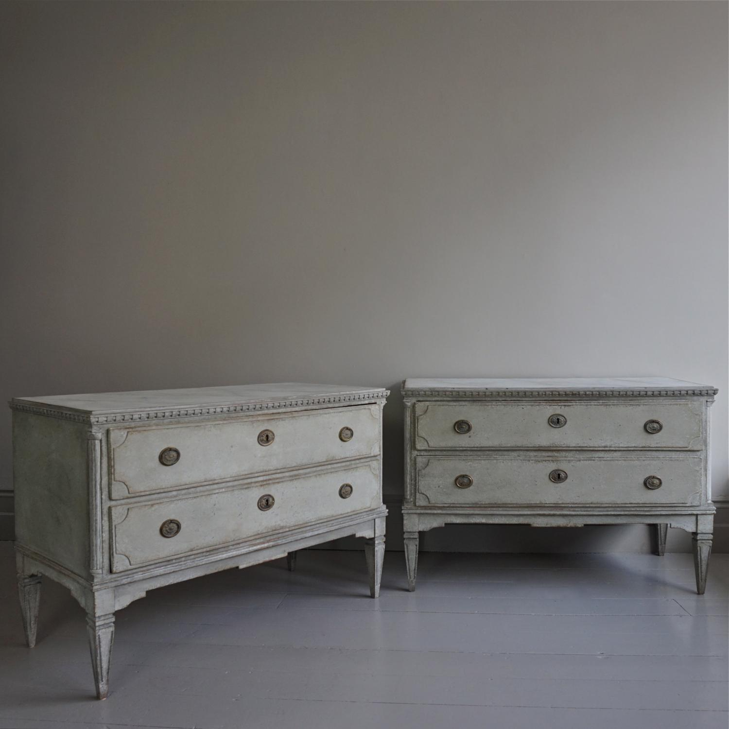 OUTSTANDING PAIR OF GUSTAVIAN CHESTS