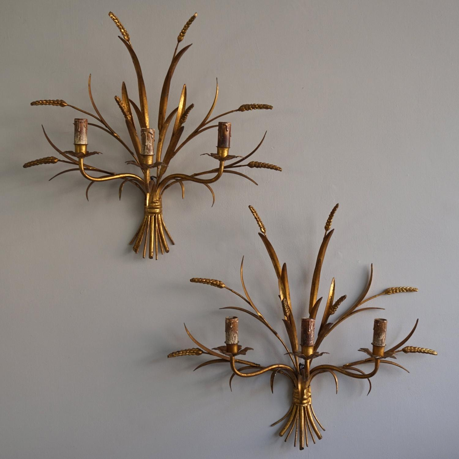 LARGE PAIR OF VINTAGE WHEATSHEAF WALL SCONCES